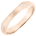 Jungle Sacrée wedding ring - 4 mm - brushed pink gold 9 carats