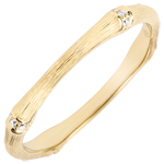 Jungle Sacrée wedding ring - Multi diamond 2 mm - brushed yellow gold 9 carats
