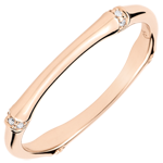 Jungle Sacrée wedding ring - Multi diamond 2 mm - pink gold 9 carats