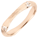 Jungle Sacrée wedding ring - Multi diamond 3 mm - brushed pink gold 9 carats