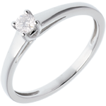 Juwelier Klassischer Solitär Ring in Weissgold