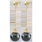 Kolczyki Amura z żółtego złota 9-karatowego - perły