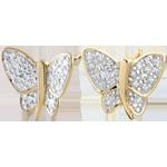 Kolczyki Spacer w Wyobraźni - Motyl Muzyk - dwa rodzaje złota - złoto białe i złoto żółte 9-karatowe