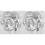Kolczyki Świeżość - Koronkowa Róża - złoto białe 9-karatowe i diamenty