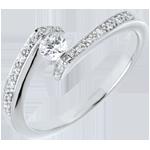 Geschenk Kombinierter Solitärring Kostbarer Kokon - Versprochen - Weißgold - Diamant 0. 15 Karat - 18 Karat