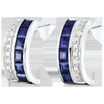 Juwelier Kreolische Ohrringe - Himmelskörper - Sternzeichen - blaue Saphire und Diamanten - Weißgold 9 Karat