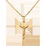 Krzyżyk z Chrystusem - złoto żółte 18-karatowe