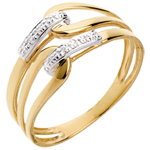 gold jewelry Loop ring yellow gold paved