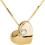 gift Lost heart necklace yellow gold with diamond