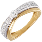 Maharajah Side Stone Ring yellow and white gold - 0.38 carat - 27diamonds