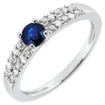 Margot Engagement Ring - 0.37 carat sapphire and diamonds - white gold 18 carats