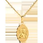 Medaglia Angelo di Raffaello - bordo fiorito - Oro giallo - 18 carati