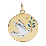 Medaglia Colomba con ramoscello - Oro bianco e Oro giallo - 18 carati - Lacca blu - 1 Diamante