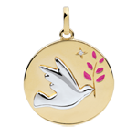 Medaglia Colomba con ramoscello - Oro bianco e Oro giallo - 18 carati - Lacca rosa - 1 Diamante