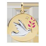 Medaglia Colomba con ramoscello - Oro bianco e Oro giallo - 9 carati - Lacca rosa - 1 Diamante