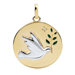 Medaglia Colomba con ramoscello - Oro bianco e Oro giallo - 9 carati - Lacca verde - 1 Diamante