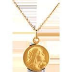 Medaglia Madonna in preghiera - 16mm - Oro giallo - 18 carati