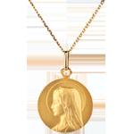 Medaglia Madonna - Massiccia - 20mm - Oro giallo - 18 carati