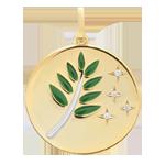 Medaglia Ramo di Olivier - Oro bianco e Oro giallo - 9 carati - Lacca verde - 4 Diamanti