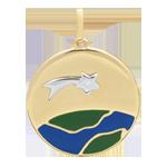 Médaille Une Etoile est née - Laque verte et bleue - 1 Diamant - or blanc et or jaune 9 carats