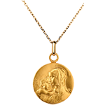 Medaille Maagd en Kind 16 mm - 9 karaat