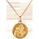 Médaille Saint Christophe ronde 18mm - or jaune 18 carats