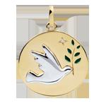 Medaille Taube im Zweig - grüner Lack - 1 diamant - 18 Karat