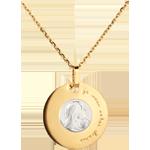 Médaille Vierge gravée 18mm - or blanc et or jaune 18 carats