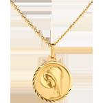 Médaille Vierge moderne bord tourné 16mm - or jaune 18 carats