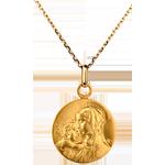 Medalion reprezentând Fecioara cu pruncul 16mm - aur galben de 18K