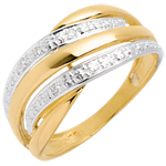 women Naja ring white and yellow gold paved - 4diamonds