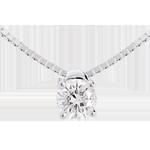 Naszyjnik z białego złota 18-karatowego z jednym diamentem - 0,21 karata