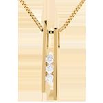 Naszyjnik Diapazon z żółtego złota 18-karatowego z potrójnym diamentem - 3 diamenty