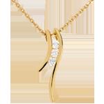 Naszyjnik Drogocenne Gniazdo z potrójnym diamentem - Sylwetka - złoto żółte 18-karatowe - 3 diamenty