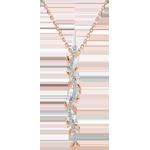 Naszyjnik w kształcie łodygi Zaczarowany Ogród - Królewskie Liście - złoto różowe 18-karatowe i diamenty