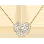 Naszyjnik w kształcie serca z żółtego złota 18-karatowego wysadzany diamentami - 0,85 karata - 50 diamentów