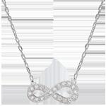 Naszyjnik Nieskończoność - złoto białe 9-karatowe i diamenty