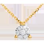 Naszyjnik Półkole wysadzany diamentami - 7 diamentów - złoto żółte 18-karatowe