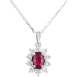 Naszyjnik Ponadczasowa Szarotka - Margerytka Iluzja - rubiny i diamenty - złoto białe 18-karatowe
