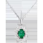 Naszyjnik Ponadczasowa Szarotka - Margerytka Iluzja - szmaragd i diamenty - złoto białe 18-karatowe