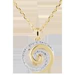 Naszyjnik Spirala Miłości z białego i żółtego złota 18-karatowego