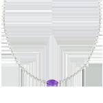 Naszyjnik Wschodnie Spojrzenie - ametyst i diamenty - złoto białe 9-karatowe