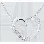 Naszyjnik Zakochane serce z białego złota 9-karatowego i diamentów
