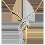 Naszyjnik Zmysłowość wysadzany diamentami - 20 diamentów - złoto białe i złoto żółte 18-karatowe