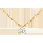 Naszyjnik z żółtego złota 18-karatowego z jednym diamentem (bardzo duży model) - 0,305 karata