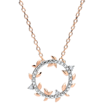 wedding Necklace circle Enchanted Garden - Foliage Royal - pink gold and diamonds - 9 carats