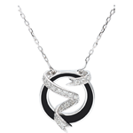 Necklace Clair Obscure - Ribbon Stars - black lacquer and diamonds - 9 carat