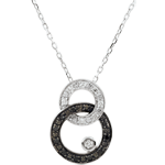 gifts woman Necklace Clair Obscure - white gold - Moon Duo - black and white diamonds
