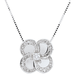 on line sell Necklace Eclosion - White Clover - gold and diamonds