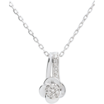 Necklace Eclosion - white gold - Rose Petals - 0.05 carat